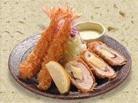 海老チキンロール定食